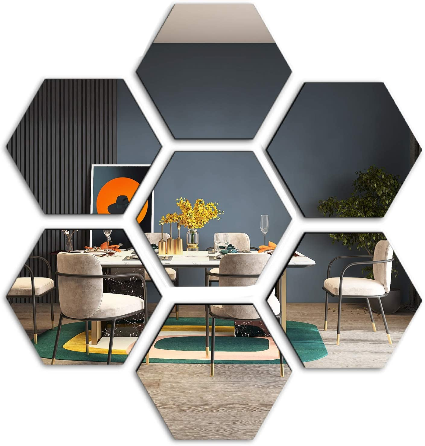 E EVENLIM 12 Pieces Hexagon Acrylic Mirrors 3D Wall Decor Tile Sticker, Silver Wall Decals for Bedroom Living Dining Bath Room Decorations Aesthetic for Teen Girls boy (7.9''x6.7''x4'')…