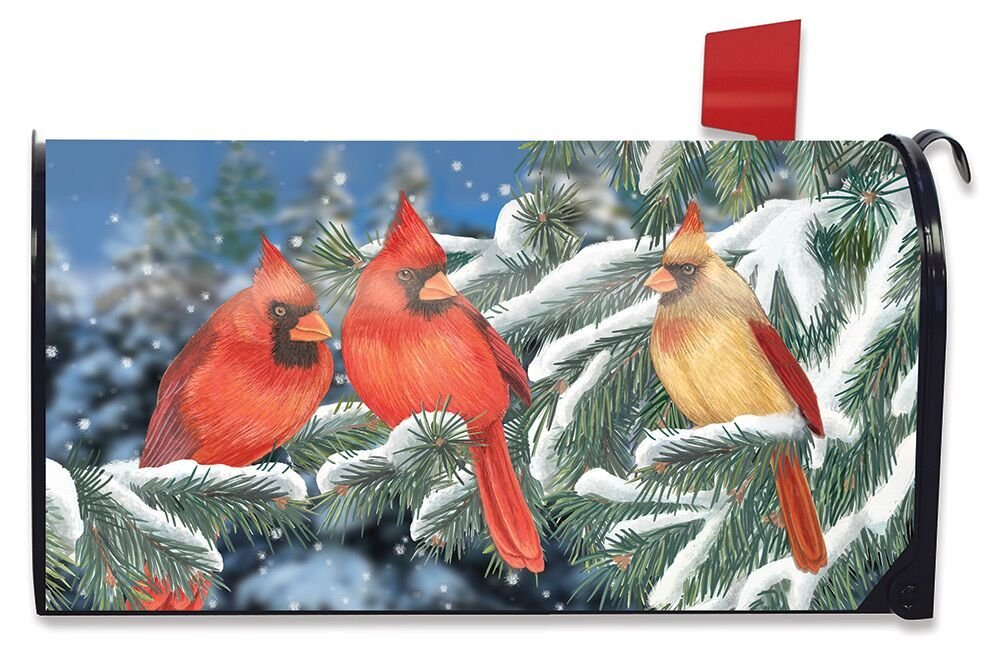 Briarwood Lane Winter Cardinal Trio Magnetic Mailbox Cover Birds Standard
