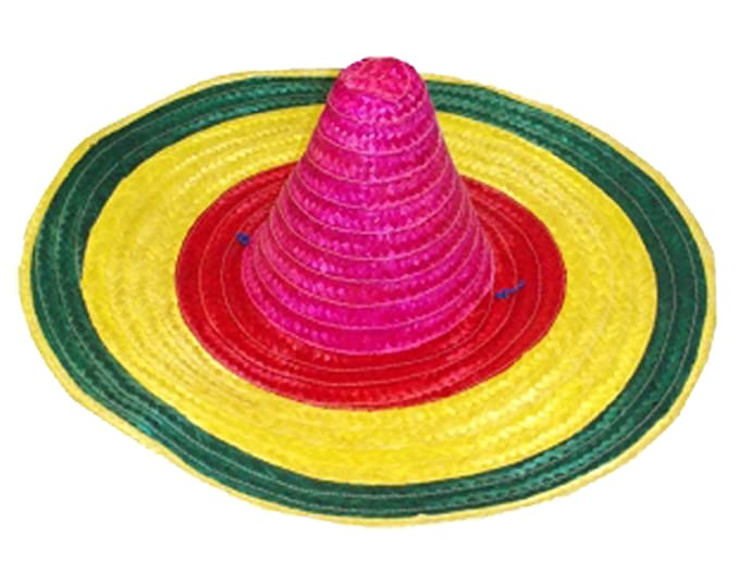 MA ONLINE Unisex Multi Color Mexican Sombrero Hat Adults Wild West Fancy  Dress Accessory Multi Color c0eb7360417c