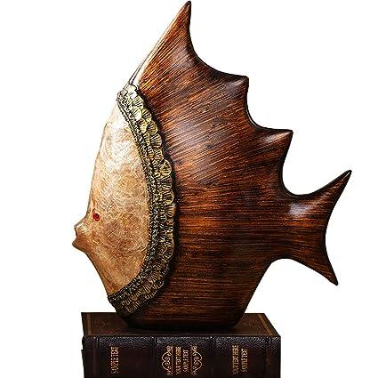 Amazoncom Dabenxiong Wood Colored Decorative Kissing Fish Statue