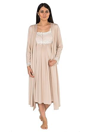 f4ad6e634cddb Bondy Maternity Pajamas 2-Piece Nightgown and Robe (Small, Cappuccino)