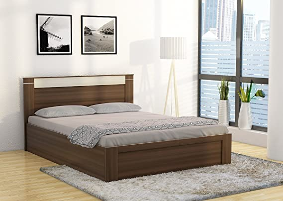 Spacewood Pacific Queen Size Bed with Storage (Woodpore Finish ...
