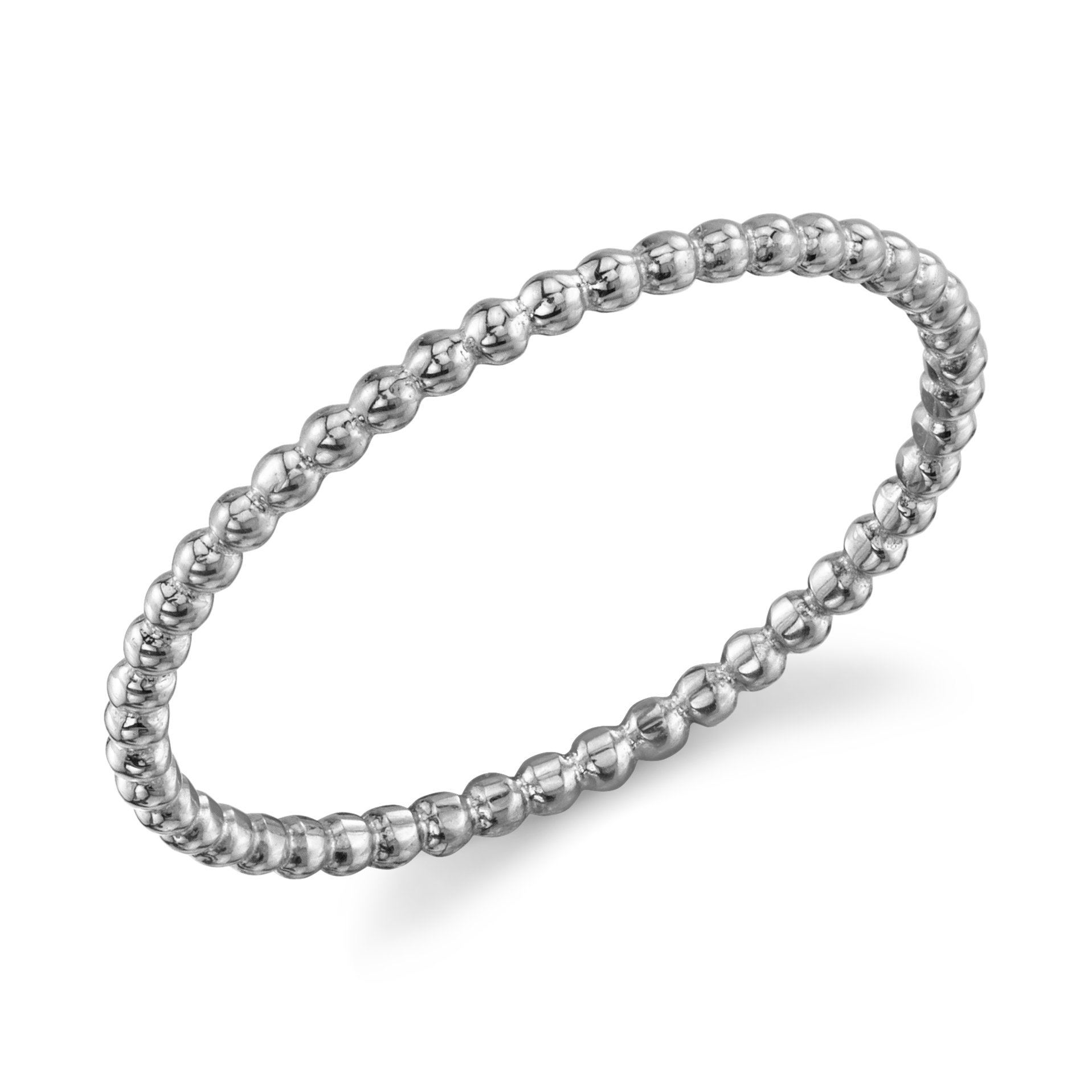 10k Dainty White Gold Ball Chain Beaded Eternity Thin Band Size 5.5