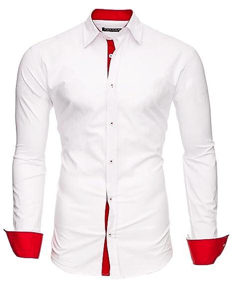 boutique pour officiel style roman meilleur prix pour Kayhan Chemise Homme, Deux Faces Blanc / Manches Rouge XL