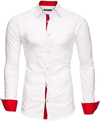 Kayhan Camisas Hombres Camisa Hombre Manga Larga Ropa Camisas de Vestir Slim fácil de Hierro Fit S M L XL XXL-6XL - Modello Twoface + London