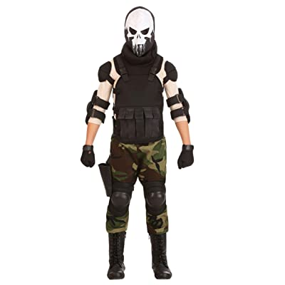 Boy's Skull Military Costume Skull Soldier Costume for Kids: Clothing