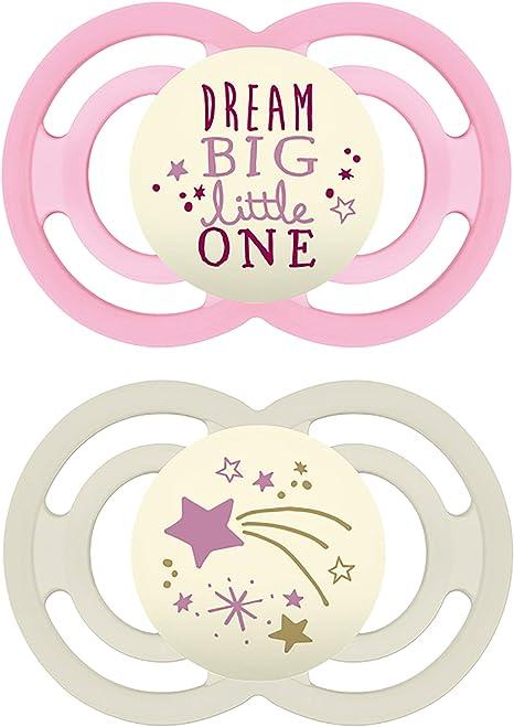 Chupetes MAM Perfect Night Chupetes que brillan en la oscuridad (2 unidades) chupetes MAM 6 más meses, el mejor chupete para bebés amamantados, chupete de bebé, color morado y rosa: Amazon.es: Bebé