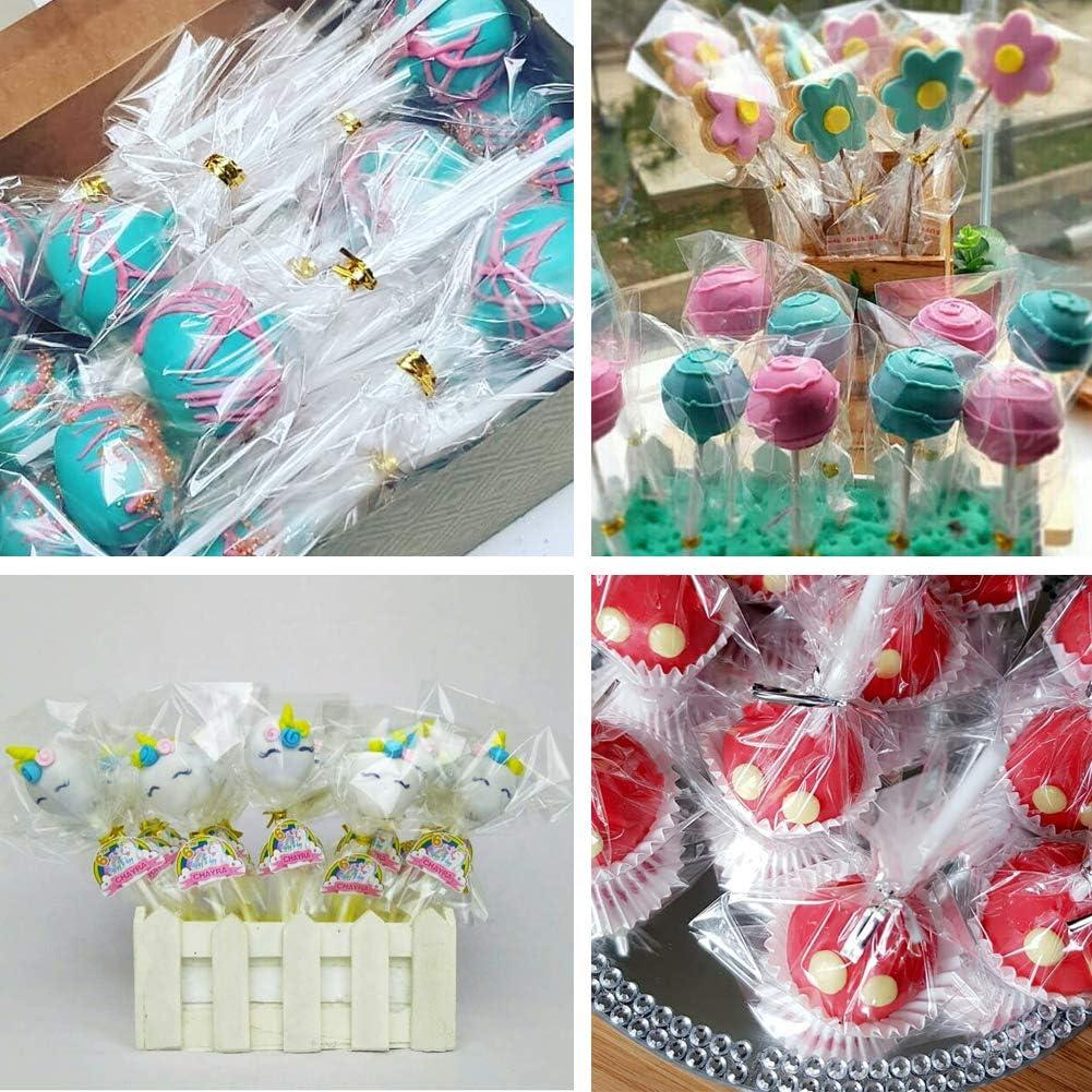 100 palillos de piruleta con bolsas de paleta y lazos para magdalenas para hacer palillos de piruletas recuerdos de fiesta Jatidne
