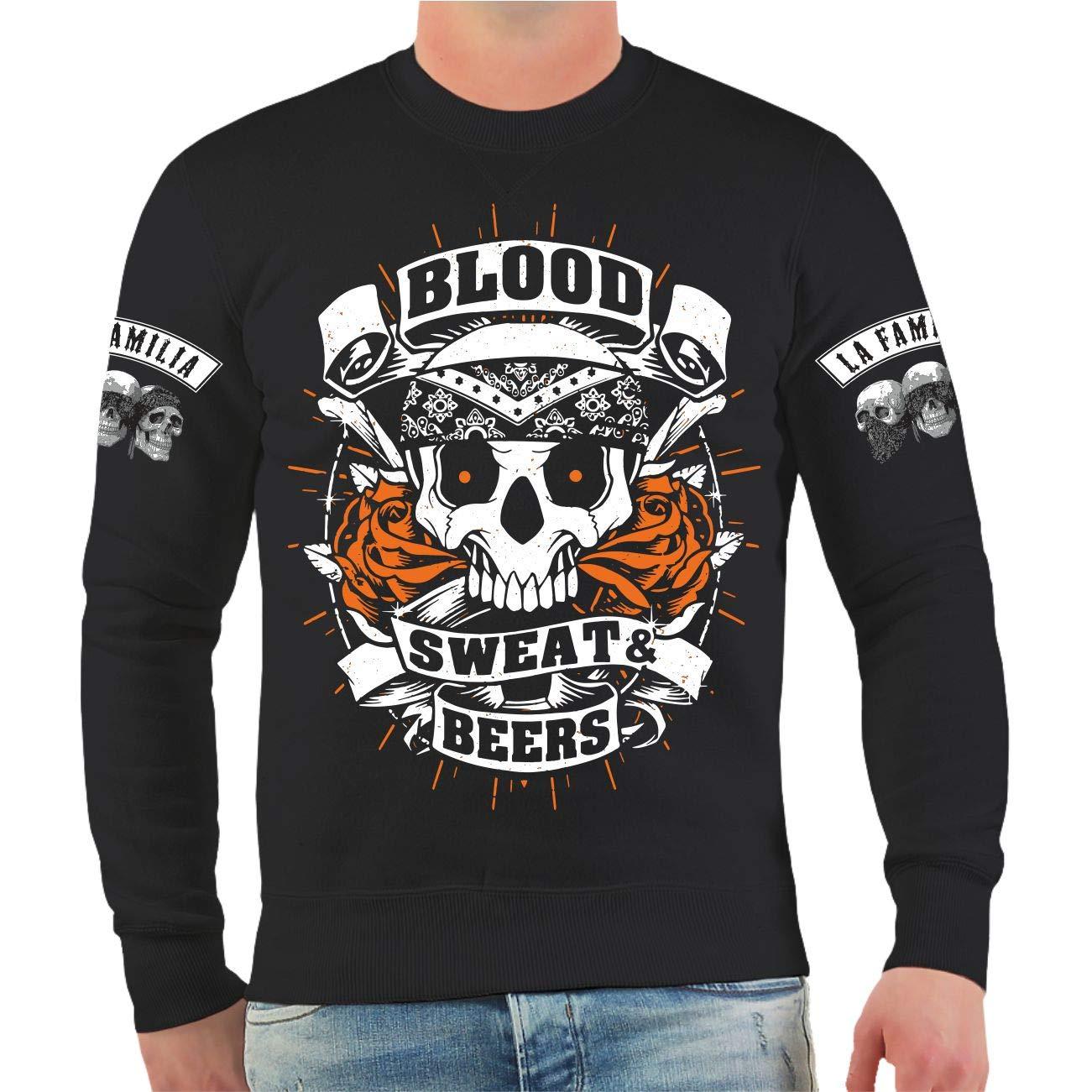 Life Is Pain Männer und Herren Sweatshirt Hardcore Merch Blut & Bier Größe S - 10XL