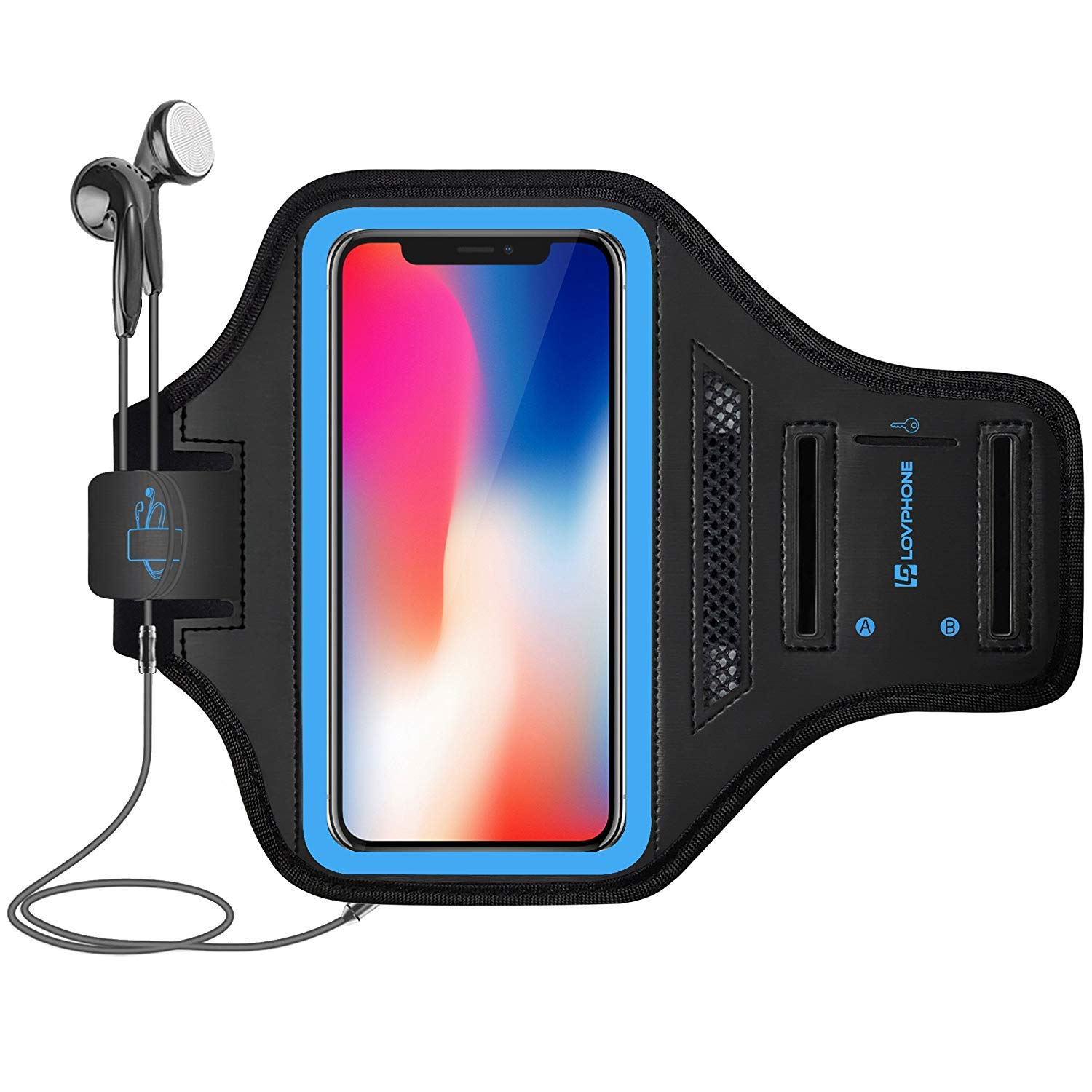 LOVPHONE Running Armband for iPhone X, Waterproof Sport Outdoor Gym Running Key Holder Card Slot Phone Case Bag Armband (Blue)