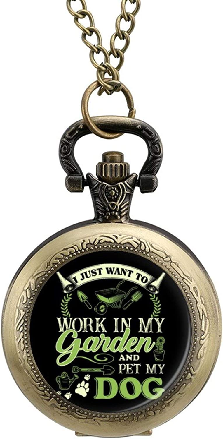 ZHENGJC I Just Want to Work in My Garden and Pet My Dog Wearable Metal Necklace Pocket Watch, Digital Scale Personalized Pattern Pocket Watch
