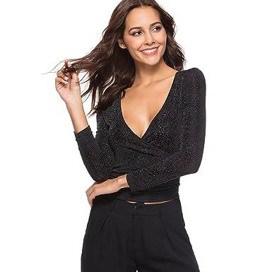 b0be554b9a9636 Zumine Women's Deep V Neck Long Sleeve Shirt Glitter Cross Wrap Crop Tops  (S,