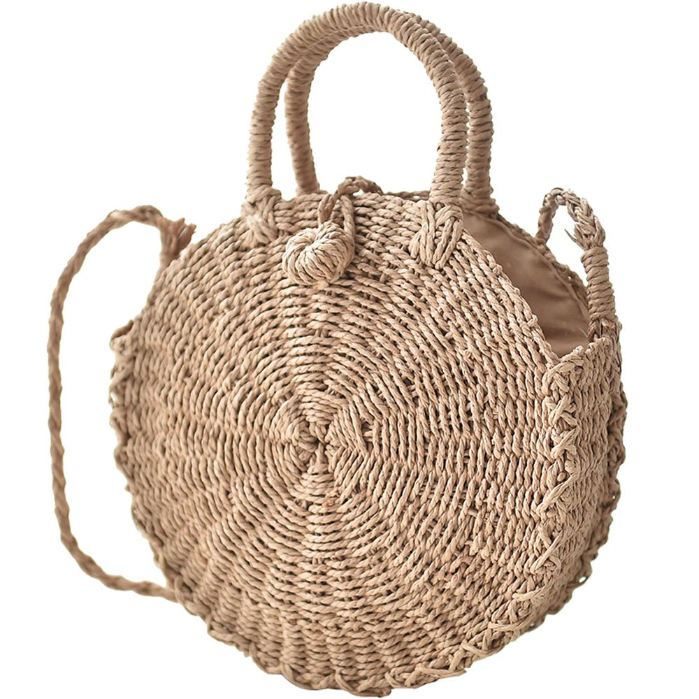 Straw Handbags for Women Beach Large Shoulder Summer Top Handle Crossbody Round Purse Ladies Woven Rattan Fashion Crochet Small Khaki with Buckle style 1