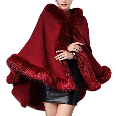 KAXIDY Abrigos de Moda Mujer Piel Imitación Capas Abrigos Invierno Chaquetas Ponchos Capas (Vino-