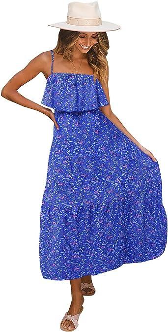 USA SPRING Women Sundress Casual Loose Spaghetti Strap Long Maxi Dress M L BLACK
