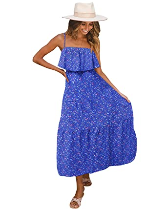 Solersun Women's Casual Floral Printed Ruffle Boho Spaghetti Strap Backless Beach Maxi Dress by Solersun