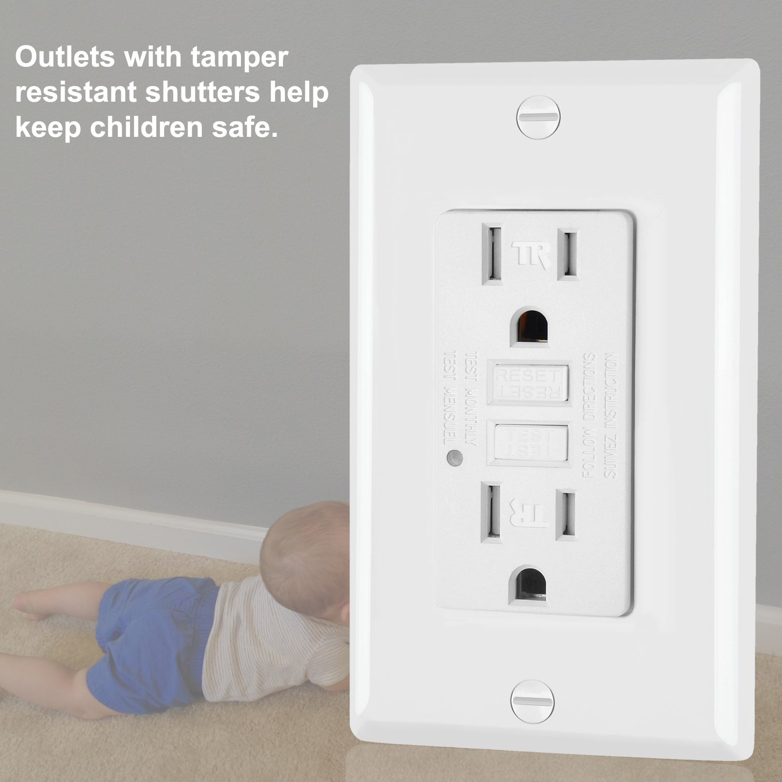 5 Pack - ELECTECK 15A/125V Tamper Resistant GFCI Outlets, Decor Receptacle with LED Indicator, Decorative Wall Plates and Screws Included, Residential and Commercial Grade, ETL Certified, White by ELECTECK (Image #4)