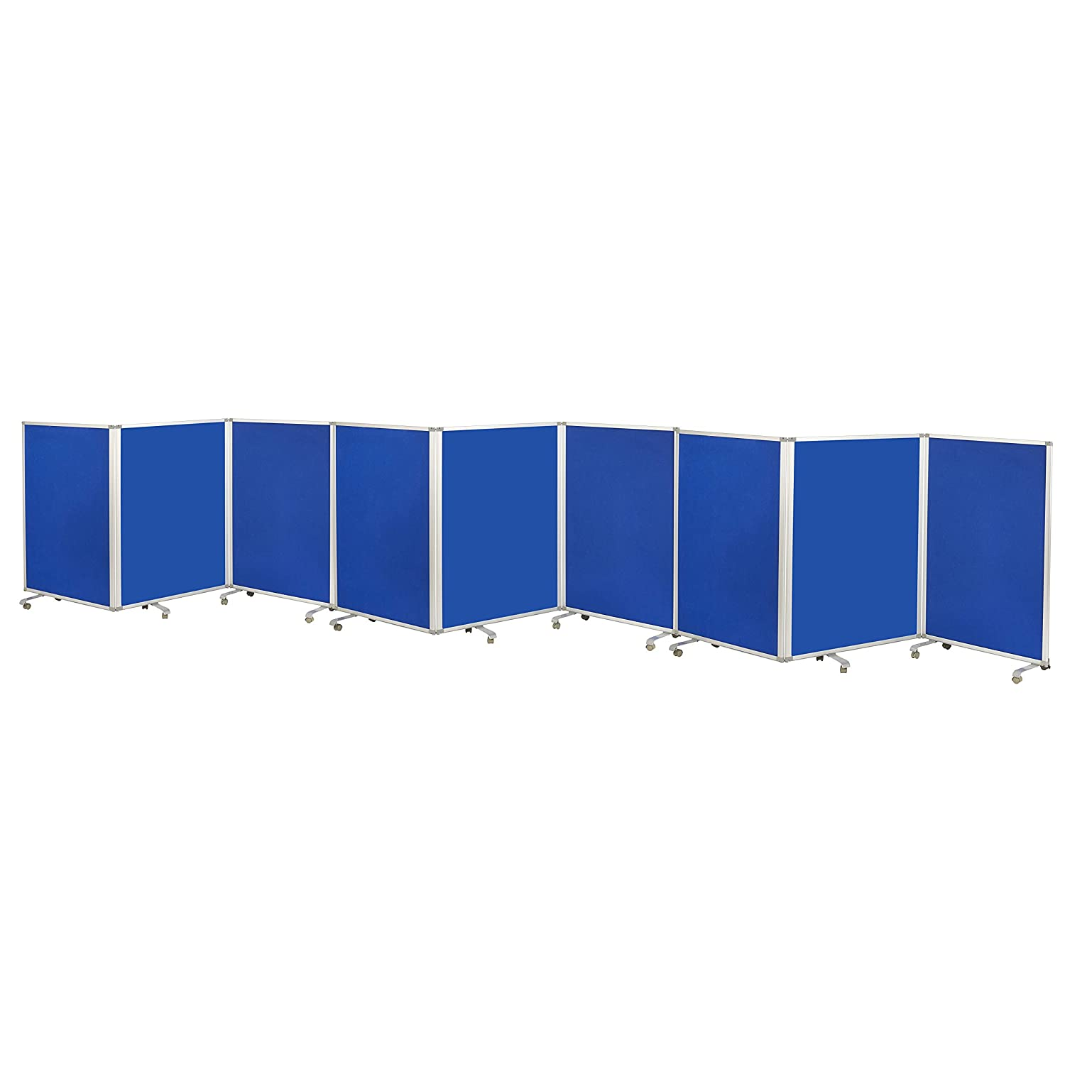 ECR4Kids Mobile Flannel Felt Room Divider and Partition, Double-Sided, Rolling Caster Wheels, Lesson Board, Mobile Wall for Classrooms and Offices, Collapses for Easy Storage, 9-Panel