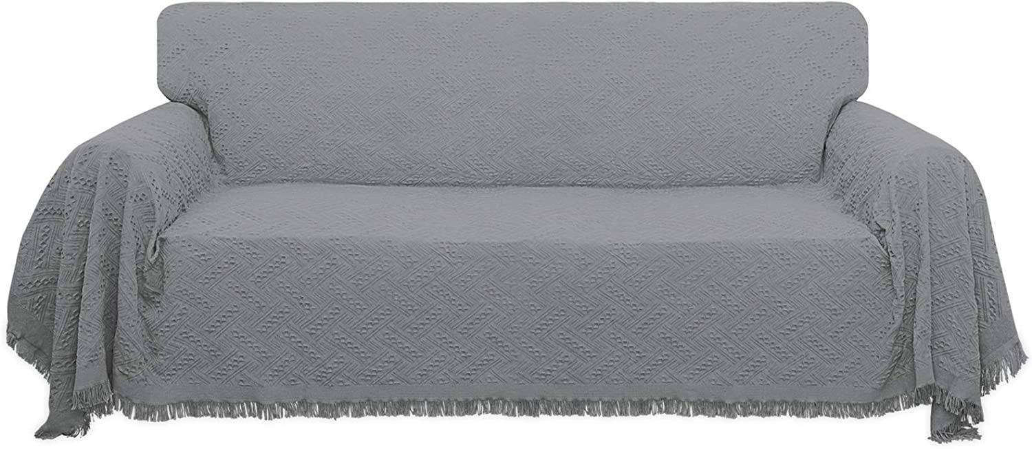 Easy-Going Geometrical Jacquard Sofa Cover, Couch Covers for 3 Cushion Couch, L Shape Sectional Covers for Dogs, Washable Luxury Bed Blanket, Furniture Protector for Pets,Kids(71x 134 inch,Light Gray)