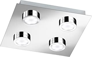 Wofi Ceiling Light SPA-Line, 4 Lights, Veneta Series, Energy Efficiency Class A+, Protection Class IP20, 3000Kelvin, 210Lumens, 4x LEDs / 3W, 25x 4x 25cm, Chrome 9871.04.01.0044