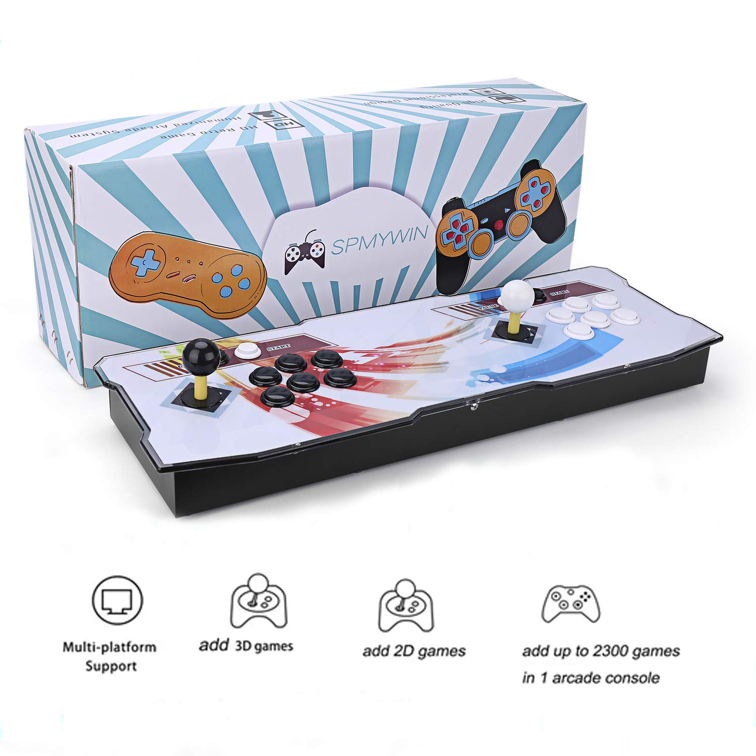 Spmywin 3D Pandoras Key 7 Arcade Video Game Console 1080P Full HD Support to Expand 2D & 3D Games Come with 32G U Drive