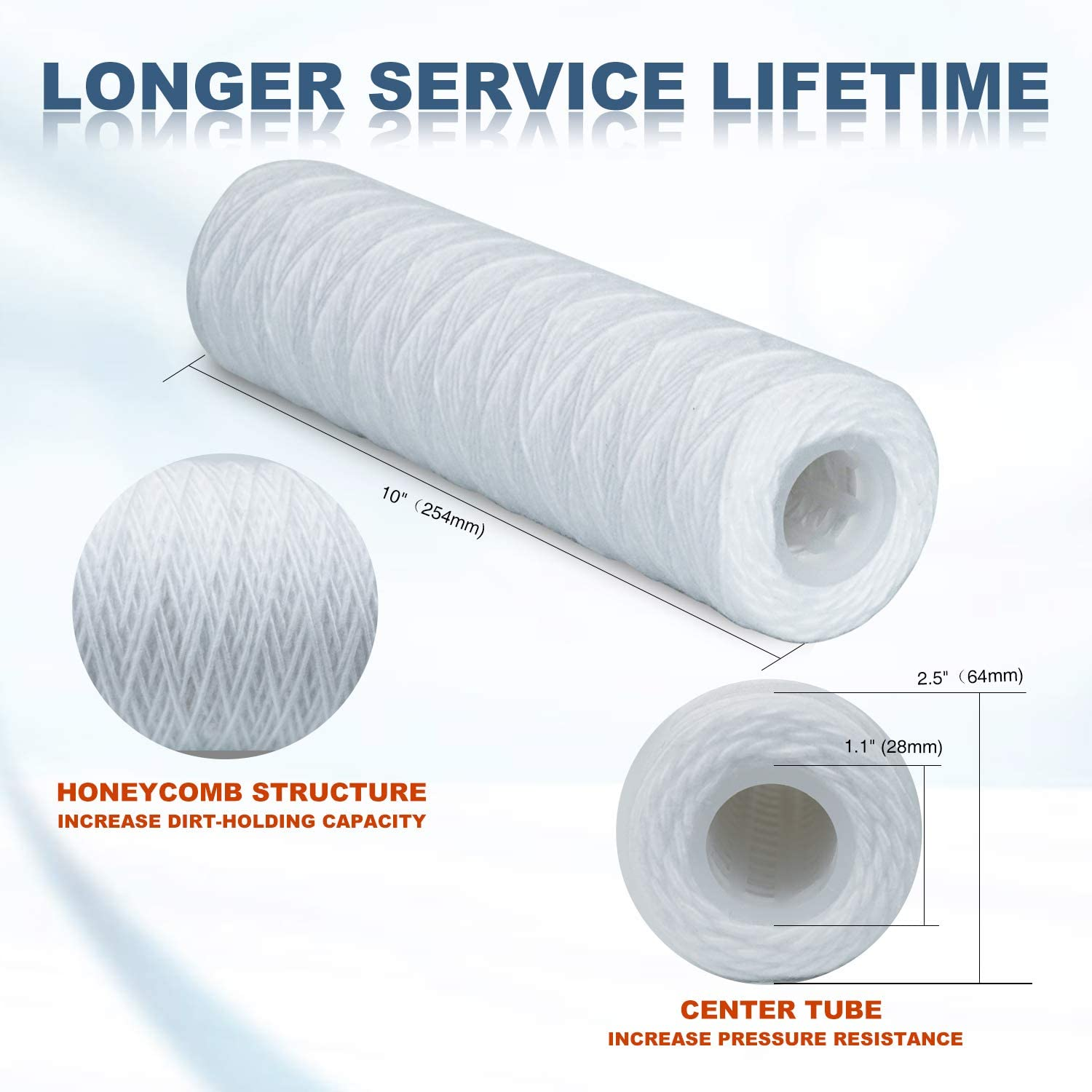 Membrane Solutions 20 Micron String Wound Water Filter Replacement Cartridge Sediment Filters for Well Water 10x2.5-25 Pack