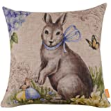 "LINKWELL 18""x18"" Season Decoration Holiday Festive Happy Easter Spring Rabbit Burlap Cushion Covers Pillow Case £¨CC765£"