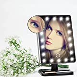 Unique Portable LED Touch Screen Makeup Mirror 20 LEDs Lighted Make-up Cosmetic Mirror Adjustable Vanity Tabletop Countertop Bathroom Mirror (Black)