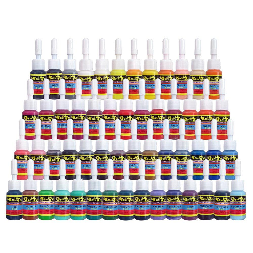 Solong Tattoo 54 Complete Colors Tattoo Ink Set Pigment Kit 1/6oz (5ml) Tattoo Supply for Tattoo Kit TI1001-5-54