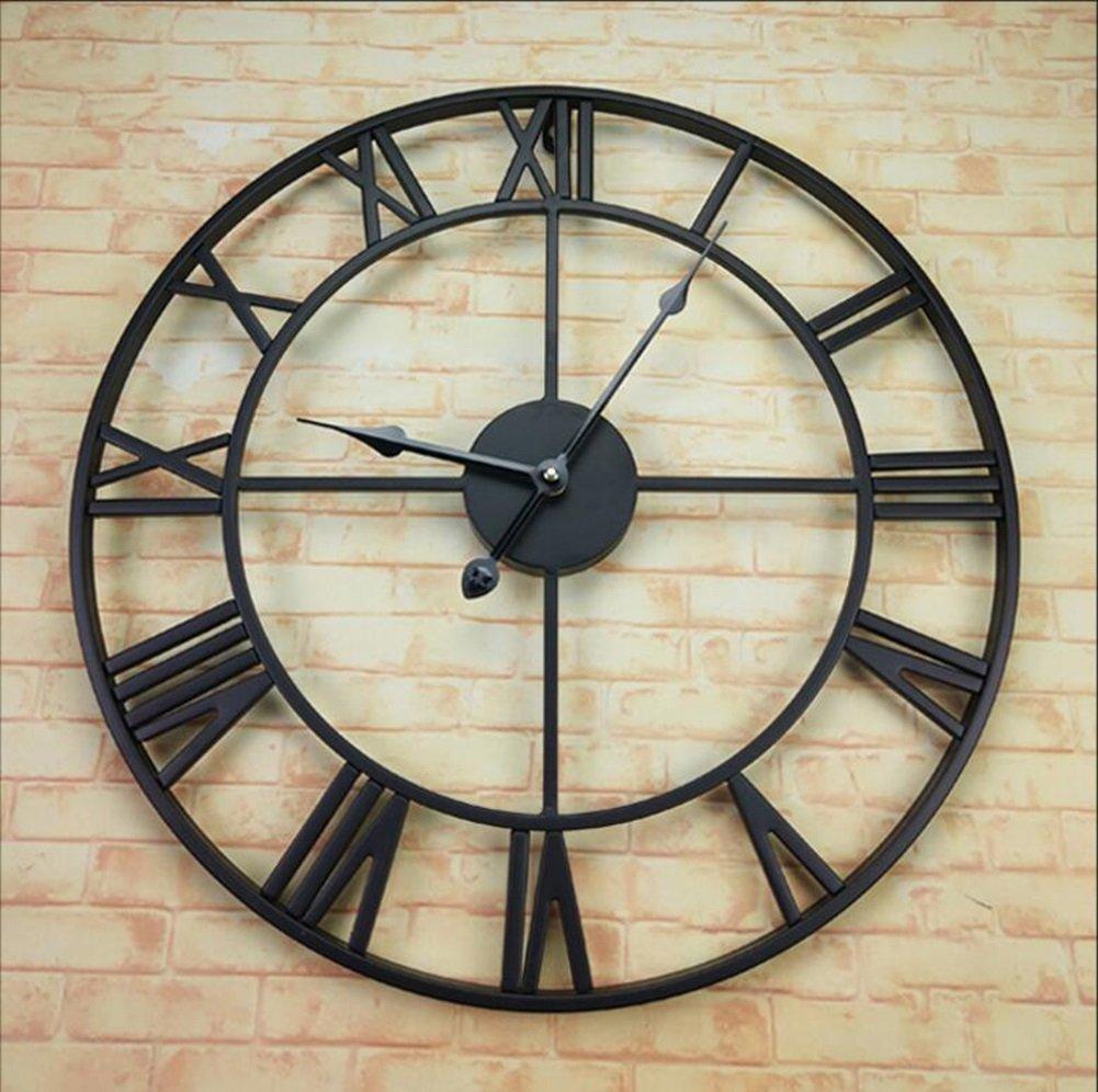 XZG アイアンアートウォールクロック、カフェレストラン衣料品店リビングルームウォールクロック木製壁時計の装飾ビンテージウォールクロック直径40-45CM 人生の場所を判断する (色 : B, サイズ さいず : 45×45 cm 45×45 cm) B07F6YW6TB 45×45 cm 45×45 cm B B 45×45 cm 45×45 cm