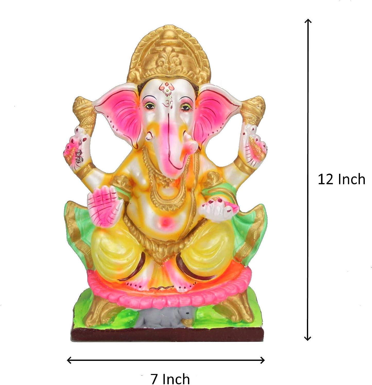 Ganesh Clay Lord Ganesha Ganapati Idol Eco-Friendly Chaturthi Visarjan Idol Hand-Made Clay Statue Murti Hindu God 8inch // 20.3cm