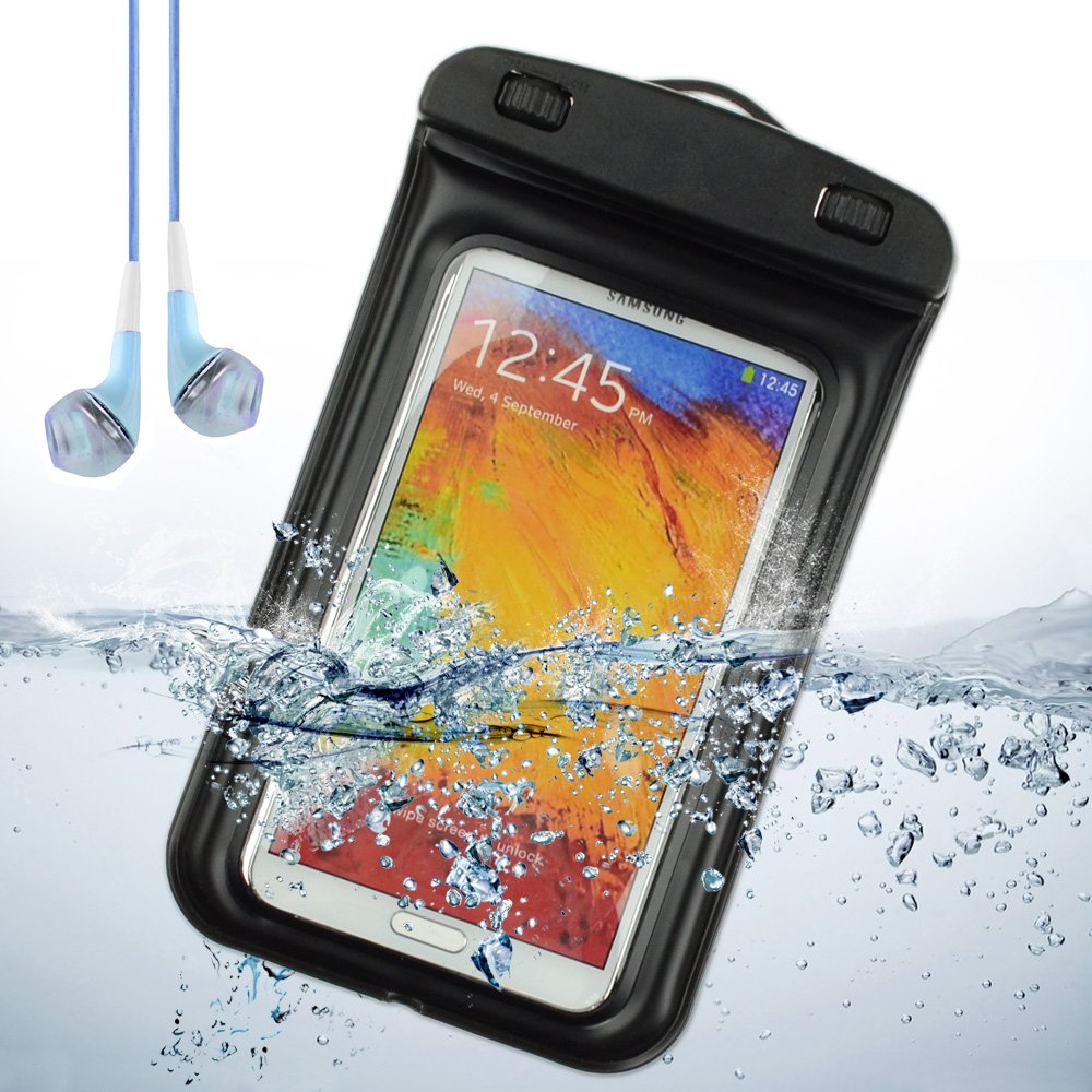 wholesale dealer 7e8d3 641fd Waterproof Case Dry Bag Diving Box Pouch for Samsung Galaxy Note 3 , Note 2  ,Samsung Galaxy S4 , S5 (Black) + Blue VanGoddy Headset With MIC