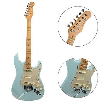 Rocket Music EGV44BL - Guitarra eléctrica (pastillas magnéticas de bobinado simple, puente fijo), color azul: Amazon.es: Instrumentos musicales