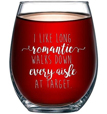 08b53685 I Like Long Romantic Walks at Target Funny Wine Glass 15oz - Unique  Christmas Gift Idea