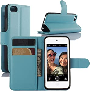 Fettion iPod Touch 7th 6th 5th Generation Case, Premium PU Leather Shockproof Wallet Case Book Flip Phone Case Cover with Credit Card Holder for Apple iPod Touch 7 (2019), iPod Touch 5/6 - Blue