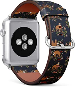 Compatible with Small Apple Watch 38mm & 40mm - (Series 5, 4, 3, 2, 1) Leather Watch Wrist Band Strap Bracelet with Stainless Steel Clasp and Adapters (Cute Sloth On Tree)