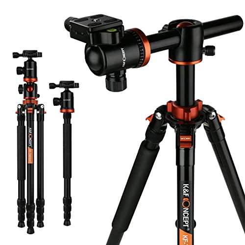 """Camera Tripod,K&F Concept 72"""" Travel Tripod with Aluminium Alloy Material 360 Degree Ball Head and Transverse Center Monopod for Canon Nikon Sony Pentax 1/4"""" Mount DSLR Cameras with Short Central Axis"""