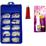CartKing Artificial Reusable Nails Set With Glue(Small), Extreme Upper Arch For a Dramatic Look, Empress Curve, Perfect For Nails Extension -100 Nails & 10ml Glue FREE