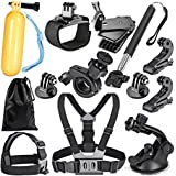 Noise 12 in 1 GoPro Hero 6 Fusion SJCAM SJ4000 SJ5000 SJ6000 Mounts Straps Accessory Set, Essentials Kit for Outdoor and Adventure Sports (Black)
