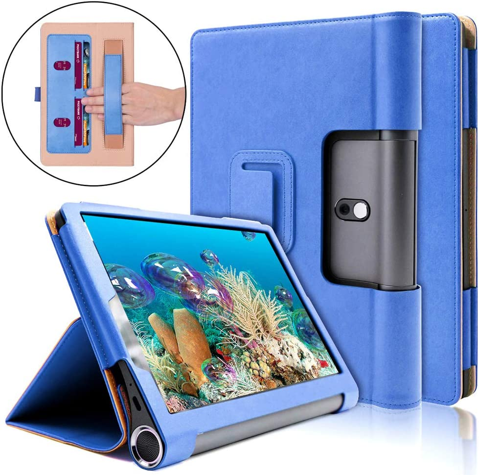 Ratesell Lenovo Yoga Smart Tab 10.1 (YT-X705F) Case, Multi-Angle Business Cover Built in Pocket Hand Strap Compatible with Lenovo Yoga Smart Tab 10.1 inches (YT-X705F) Tablet Blue