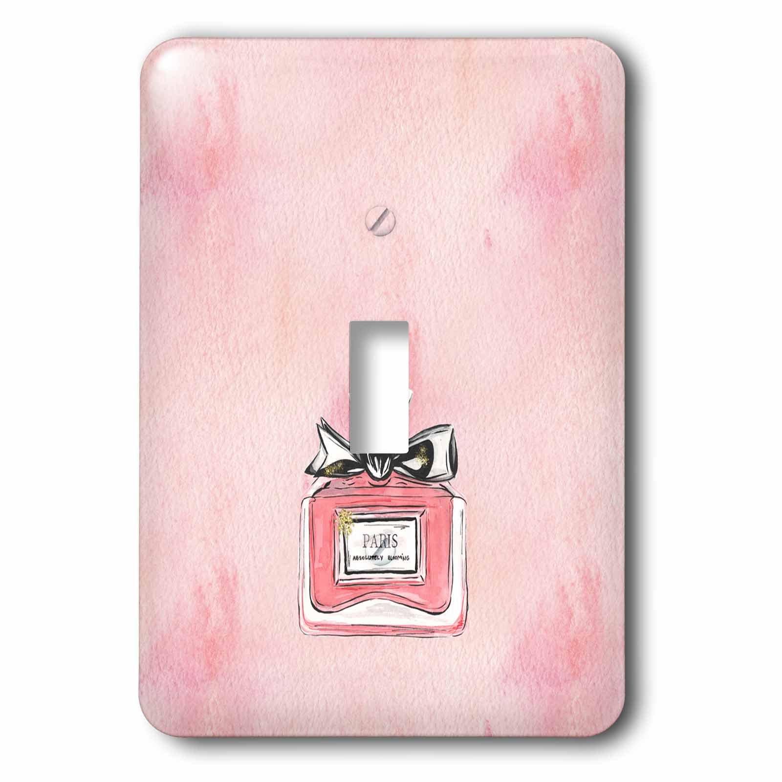 3dRose Uta Naumann Watercolor Illustration - Pink Luxury Girly Chic Perfume Illustration on Grunge Pink - Light Switch Covers - single toggle switch (lsp_267033_1)