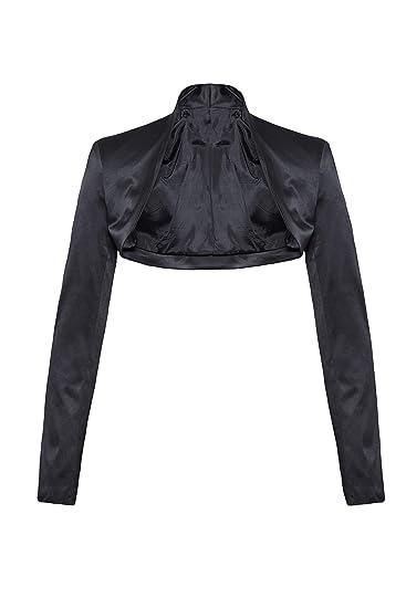 prezzo più basso migliore vendita 100% qualità Elegante bolero a maniche lunghe in raso nero XL: Amazon.it ...