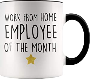 YouNique Designs Work from Home Employee Of The Month Mug, 11 Ounces, Funny Employee Appreciation Coffee Mug, Work From Home Cup (Black Handle)