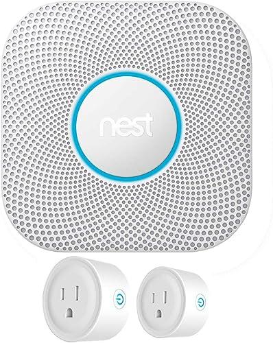 Nest S3000BWES Protect 2nd Generation Smoke Carbon Monoxide Alarm Battery Bundle with Deco Gear 2 Pack WiFi Smart Plug