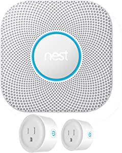 Nest S3000BWES Protect 2nd Generation Smoke/Carbon Monoxide Alarm Battery Bundle with Deco Gear 2 Pack WiFi Smart Plug