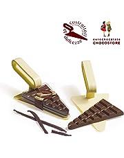 Eurochocolate CAZZUOLA con Tavoletta CIOCCOLATO Extra Fondente alla VANIGLIA (Paletta per Dolci)