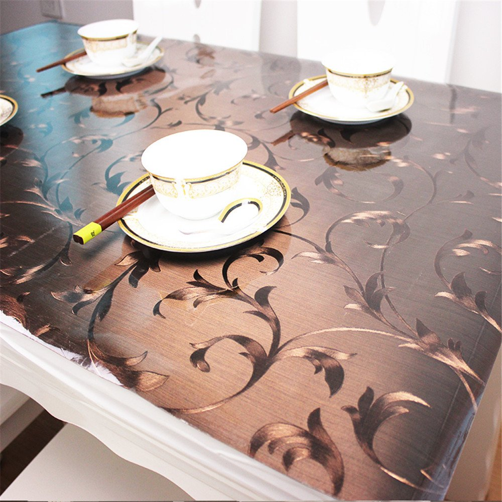 OstepDecor Custom Plastic Tablecloth Vinyl Cover Table Furniture Protector Kitchen Dining Top Waterproof Side Table End Desk Pads | Brown 36 x 78 Inches