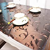 OstepDecor Custom Plastic Tablecloth Vinyl Cover Table Furniture Protector Kitchen Dining Top Waterproof Side Table End Desk Pads | Brown 54 x 54 Inches