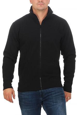 Happy Clothing Herren Sweatjacke ohne Kapuze Zip-Jacke Reißverschluss mit  Kragen: Amazon.de: Bekleidung