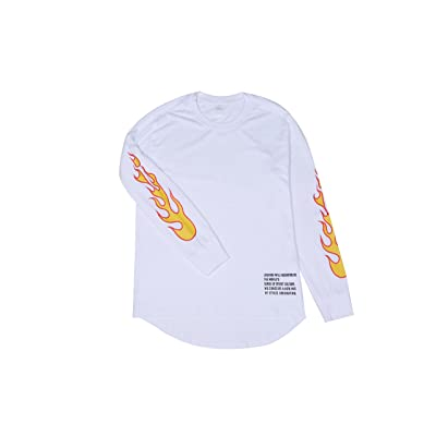 Seron&Zidan Fire Pattern Logo long sleeves T-shirt (White, M) | .com